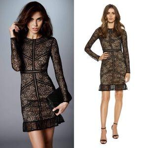 Bardot Sasha Long Sleeve Ruffle Hem Lace Dress